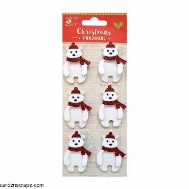 LittleBirdie Polar Bear Glitter Embellishments 6pc