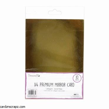 A4 Mirror Card DoveCraft Gold 10pk