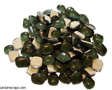 Mosaic Glass Drops Green 140pk