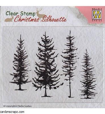 Nellie's Choice Christmas Silhouette Pine Trees