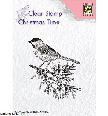 Clear Stamp Nellie's Choice Conifer Branch With Bird