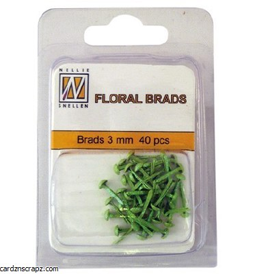 Nellie's Choice Floral Glitter Brads Green