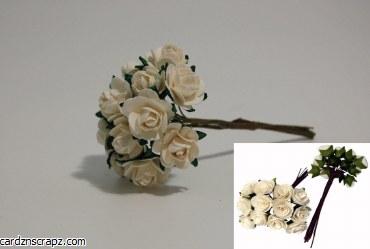 Mini Open Rose 12 Pack White