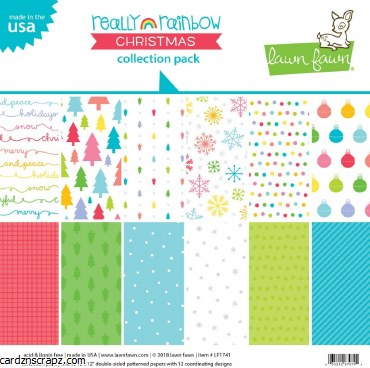 "Paper Pk 12x12"" Lawn Fawn Rainbow Christmas Pack"