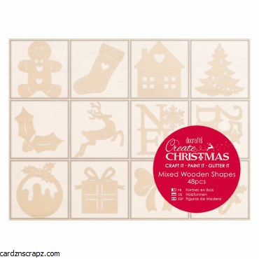 Wooden Shapes Christmas Icons 48pk