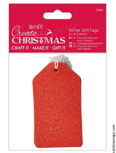 Tags DoCrafts (20pk) Red Glitter