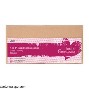 "Papermania Card & Envelope Kraft 4x4"" 300gsm 25 pack"
