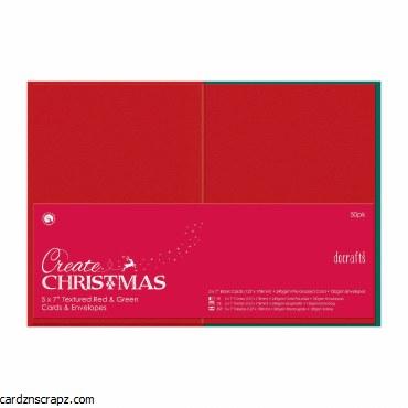 "Card/Env 5x7"" Red & Green 50pk"