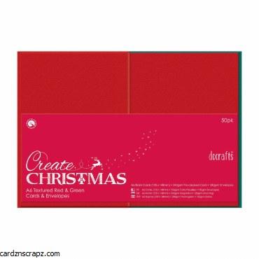 Card/Env A6 Red & Green 50pk