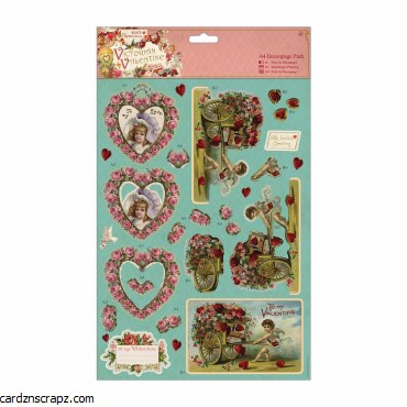 Papermania A4 Decoupage Pack Victorian Valentine Hearts