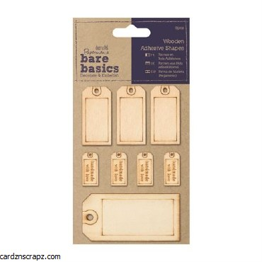 Papermania Wooden Adhesive Shapes (8pcs) Tags