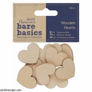 Wooden Hearts 3cm 12pk