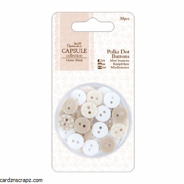 Papermania Polka Dot Buttons (30pcs) - Capsule Collection - Oyster Blush