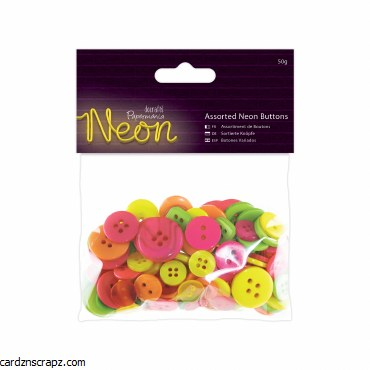 Papermania Assorted Buttons (50g) Neon
