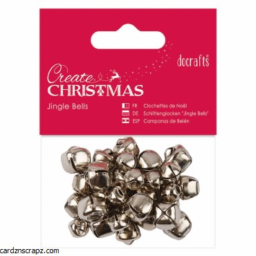 Jingle Bells DoCrafts 20pk Silver Large