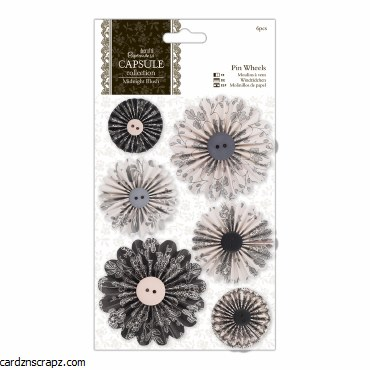 Papermania Pin Wheels (6pcs) Capsule Collection Midnight Blush