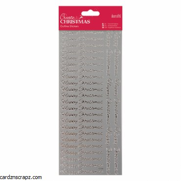 Outline Stickers Happy Christmas Silver