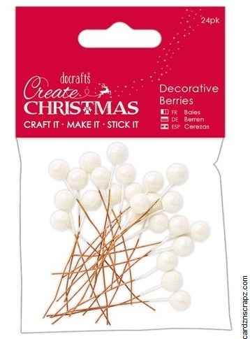 DoCrafts Decorative Berries 8mm (24pk) Frost