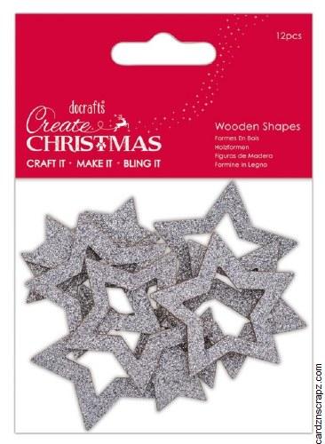 Wooden Shape Silver Star 12pk
