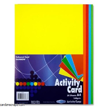 A4 Coloured Card 50 Pack Assorted