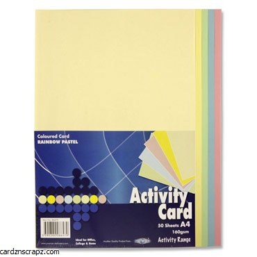 A4 Coloured Card 50 Pack Pastel Shades