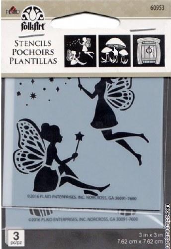 """Stencil FolkArt 3x3"""" Fairy & Mushroom 3pk"""