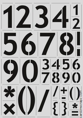 "Stencil A4 CE Full Block Range Numbers 27mm/1"" & 56mm/2"""