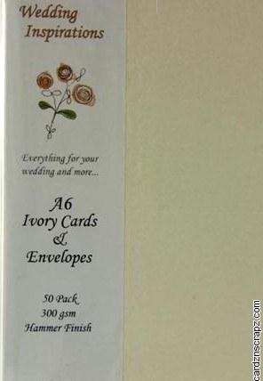 Card & Envelope A6 50pk Ivory Hammered