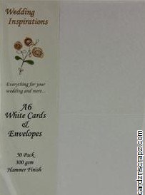 Card & Envelope A6 50pk White Hammered