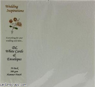 Card/Env 110x220mm DL 50pk White Hammer