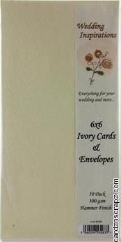 "Card & Envelope 6x6"" 50pk Ivory Hammered"