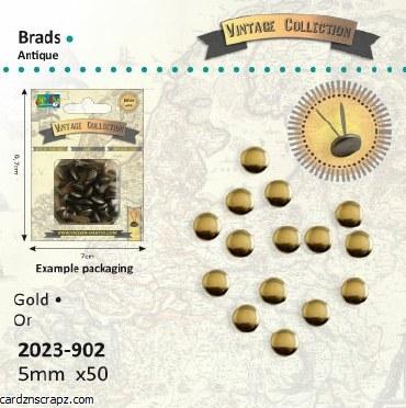 Brads 5mm Rnd Met Gold 50pk