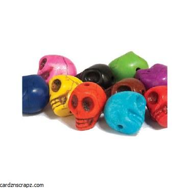 Beads Skull 12mm Asst 10pk