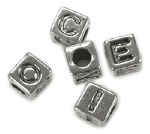 Darice Alphabet Beads 6mm 85pk Silver Plated
