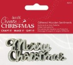 Wooden Words Merry Xmas Silver