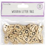 Wooden Letter Tags DC 100pk