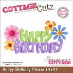 CottageCutz Die 4X4 Happy Birthday Phrase Made Easy