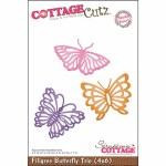 CottageCutz Die 4X6 Filigree Butterfly Trio Made Easy