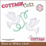 CottageCutz Die 4X4 Doves W/Ribbons Made Easy