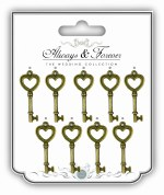 Embellishments Heart Keys 9pk