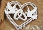 Chipboard Doves Heart 3D