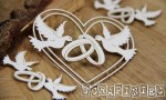 Chipboard Doves Hearts 3pk