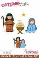 Cottagecutz Nativity Set (6x4) Mary, Joseph & Baby)
