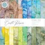 Craft Consortium Essential Craft Papers 12x12 Inch Paper Pad Ink Drops Earth