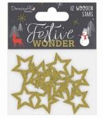 Dovecraft Wooden Glitter Stars