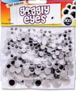 Wiggle Eyes Asst 300pk