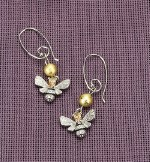 Hobby Crafting Fun Earrings Queen Bee & Gold Bead, Organza Bag