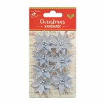 LittleBirdie Christmas Glitter Poinsettia Silver, 7pc