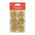 LittleBirdie Christmas Glitter Poinsettia Gold, 7pc