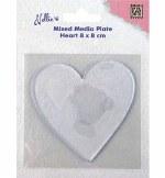 Nellie's Gelli Plate Heart 80x80x4mm